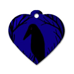 Halloween Raven   Deep Blue Dog Tag Heart (two Sides)