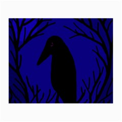 Halloween Raven - Deep Blue Small Glasses Cloth (2-side) by Valentinaart