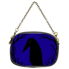 Halloween Raven   Deep Blue Chain Purses (two Sides)