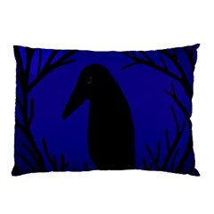 Halloween Raven   Deep Blue Pillow Case (two Sides) by Valentinaart