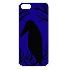 Halloween Raven   Deep Blue Apple Iphone 5 Seamless Case (white) by Valentinaart