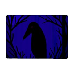 Halloween Raven   Deep Blue Apple Ipad Mini Flip Case by Valentinaart