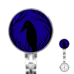 Halloween Raven   Deep Blue Stainless Steel Nurses Watch by Valentinaart