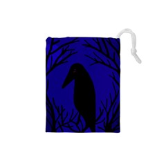 Halloween Raven   Deep Blue Drawstring Pouches (small)  by Valentinaart