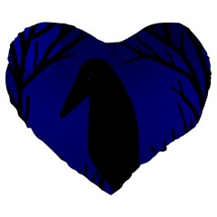 Halloween Raven   Deep Blue Large 19  Premium Flano Heart Shape Cushions by Valentinaart