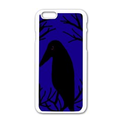 Halloween Raven   Deep Blue Apple Iphone 6/6s White Enamel Case by Valentinaart