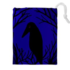 Halloween Raven   Deep Blue Drawstring Pouches (xxl) by Valentinaart