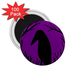 Halloween Raven   Purple 2 25  Magnets (100 Pack)  by Valentinaart
