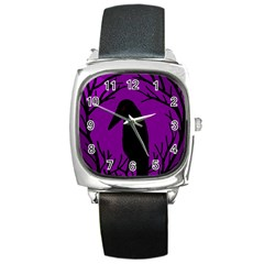 Halloween Raven   Purple Square Metal Watch by Valentinaart