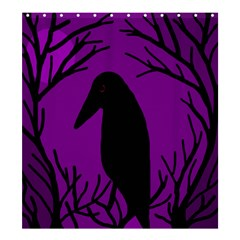 Halloween Raven   Purple Shower Curtain 66  X 72  (large)  by Valentinaart