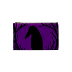 Halloween Raven   Purple Cosmetic Bag (small)  by Valentinaart