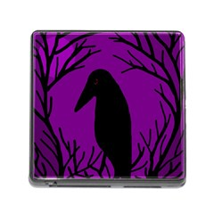 Halloween Raven   Purple Memory Card Reader (square) by Valentinaart