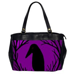 Halloween Raven   Purple Office Handbags (2 Sides)  by Valentinaart