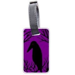 Halloween Raven   Purple Luggage Tags (one Side)  by Valentinaart