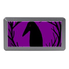 Halloween Raven   Purple Memory Card Reader (mini) by Valentinaart