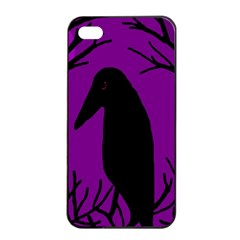 Halloween Raven   Purple Apple Iphone 4/4s Seamless Case (black) by Valentinaart