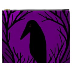 Halloween Raven   Purple Cosmetic Bag (xxxl)  by Valentinaart