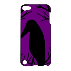 Halloween Raven   Purple Apple Ipod Touch 5 Hardshell Case by Valentinaart