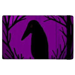 Halloween Raven   Purple Apple Ipad 3/4 Flip Case by Valentinaart