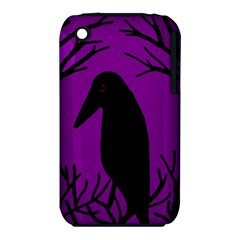 Halloween Raven   Purple Apple Iphone 3g/3gs Hardshell Case (pc+silicone) by Valentinaart