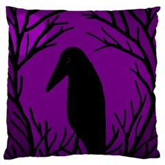 Halloween Raven   Purple Standard Flano Cushion Case (one Side) by Valentinaart
