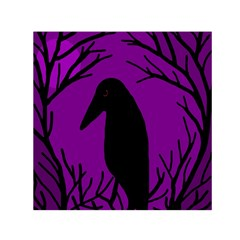 Halloween Raven   Purple Small Satin Scarf (square) by Valentinaart