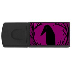 Halloween Raven   Magenta Usb Flash Drive Rectangular (4 Gb)  by Valentinaart