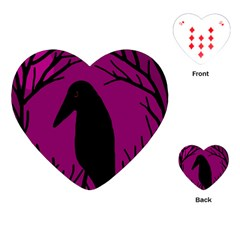 Halloween Raven   Magenta Playing Cards (heart)  by Valentinaart