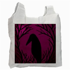 Halloween Raven   Magenta Recycle Bag (two Side)  by Valentinaart