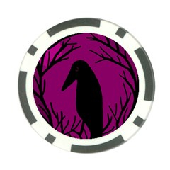 Halloween Raven   Magenta Poker Chip Card Guards (10 Pack)  by Valentinaart