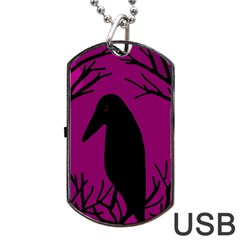 Halloween Raven   Magenta Dog Tag Usb Flash (one Side) by Valentinaart