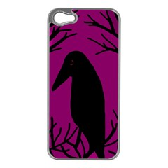 Halloween Raven   Magenta Apple Iphone 5 Case (silver) by Valentinaart