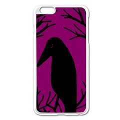 Halloween Raven   Magenta Apple Iphone 6 Plus/6s Plus Enamel White Case by Valentinaart