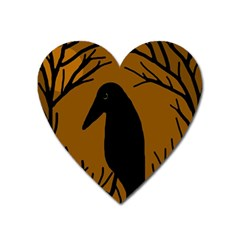 Halloween Raven   Brown Heart Magnet