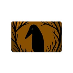 Halloween Raven   Brown Magnet (name Card) by Valentinaart