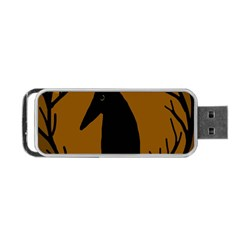 Halloween Raven   Brown Portable Usb Flash (one Side) by Valentinaart