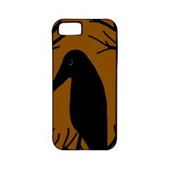 Halloween Raven   Brown Apple Iphone 5 Classic Hardshell Case (pc+silicone) by Valentinaart