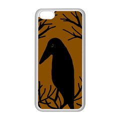 Halloween Raven   Brown Apple Iphone 5c Seamless Case (white) by Valentinaart