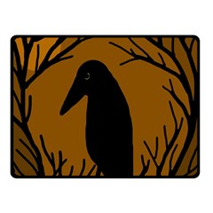 Halloween Raven   Brown Double Sided Fleece Blanket (small)  by Valentinaart