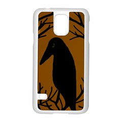 Halloween Raven   Brown Samsung Galaxy S5 Case (white) by Valentinaart
