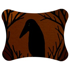 Halloween Raven   Brown Jigsaw Puzzle Photo Stand (bow) by Valentinaart