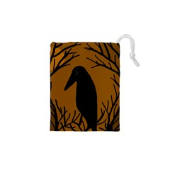 Halloween Raven   Brown Drawstring Pouches (xs)  by Valentinaart