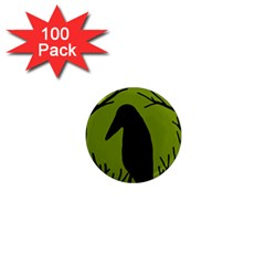 Halloween Raven   Green 1  Mini Magnets (100 Pack)  by Valentinaart