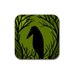 Halloween Raven   Green Rubber Coaster (square)  by Valentinaart