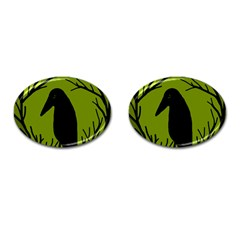 Halloween Raven   Green Cufflinks (oval) by Valentinaart