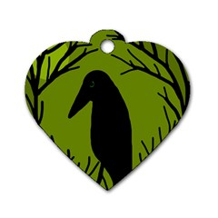 Halloween Raven   Green Dog Tag Heart (two Sides) by Valentinaart