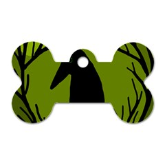 Halloween Raven   Green Dog Tag Bone (one Side)