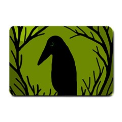 Halloween Raven   Green Small Doormat  by Valentinaart