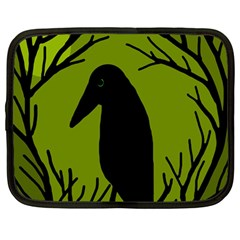 Halloween Raven   Green Netbook Case (large) by Valentinaart