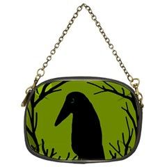 Halloween Raven   Green Chain Purses (one Side)  by Valentinaart